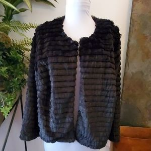 NWT - Faux Fur Black Jacket - Size 2X